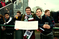 M1s Dave Bartram fans at the match v Beeston
