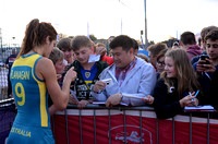 Anna Flanagan signing autographs for fans at the Fun Zone