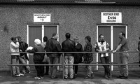 Stoke City - Victoria Ground Supporters at the front of the queue for the Boothen End